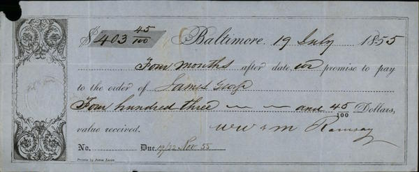 1855 Baltimore Contract Contract WW.M. Ramsay James George