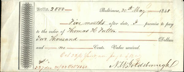 1848 Baltimore Promissory Note (Bills of Exchange) N.W. Goldsbouough