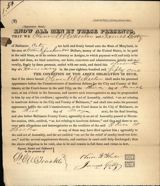 1837 Baltimore Maryland (MD) St. George Williamson Teackle JAMES GETTY oil fortune founder