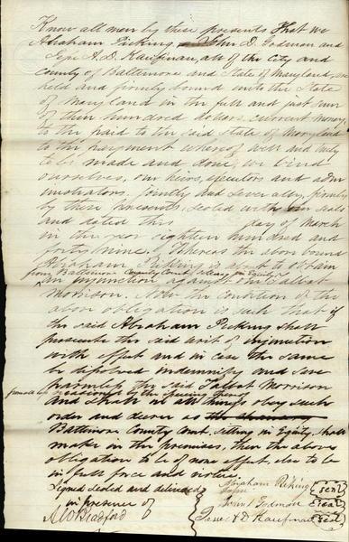 1849 Baltimore Maryland (MD) document Civil War Augustus Williamson Bradford Abraham Pickering John Godman Jesse Kaufman