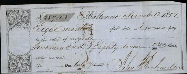 1852 Baltimore Baltimore Promisory note to himself John Richardson