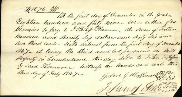 1849 Cumberland Satisfaction of mortgage J. Philip Roman John J. Hoffman J. xxxx Hill