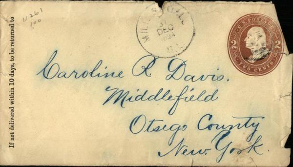 1884 Middlefield New York (NY) Envelope  Caroline R. Davis