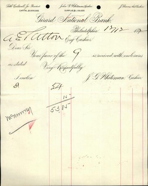 1807 Philadelphia Pennsylvania (PA) Receipt Girard National Bank