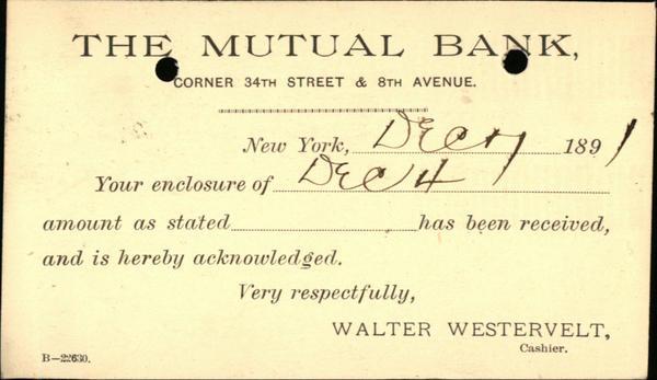 1891 Curwensville Pennsylvania (PA) Postcard The Mutual Bank  Curwensville Bank Walter Westervelt