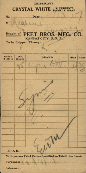 1917 Kanas City Kansas (KS) Receipt Crystal Chite