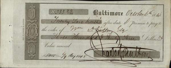 1846 Baltimore Maryland (MD) Contract Fisher, Miller & Co.  Wm. D. Miller Chas. Jov. Hart