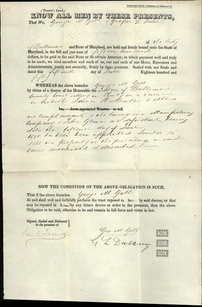 1850 Baltimore Maryland (MD) document by George M Gill who argued famous case with US Supreme Court Justice Roger Taney