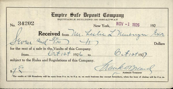 1926 New York New York NY Receipt Empire Safe Deposit Company – Company Receipt