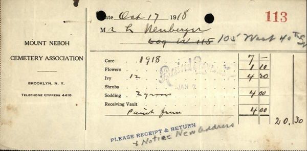 1918 Brooklyn New York (NY) Receipt Mount Neboh Cemetery Association  Mr. L. Neuberger JEWISH